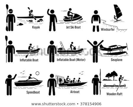Vista lateral establecer plástico colorido rafting kayak Foto stock © studioworkstock