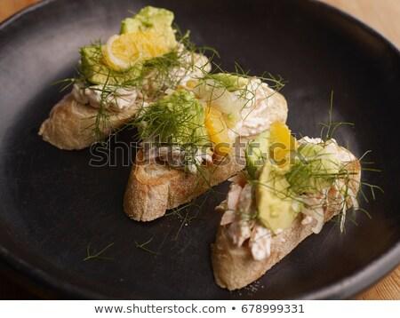 gerookt · forel · filet · glas · plaat · peterselie - stockfoto © is2