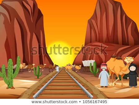 Camels and arab people crossing the railroad at sunset Stock photo © bluering
