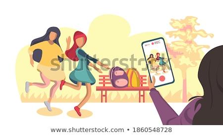 Tieners bank tiener mannelijke vergadering vriendschap Stockfoto © IS2