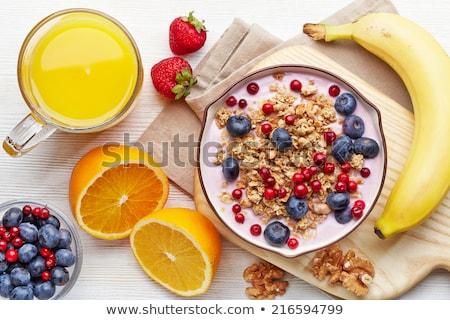 Sağlıklı kahvaltı gevreği gıda egzersiz muz plan Stok fotoğraf © M-studio