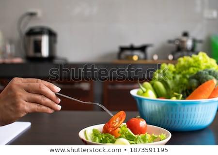 Kepçe salatalık beyaz yeşil kesmek Stok fotoğraf © Digifoodstock