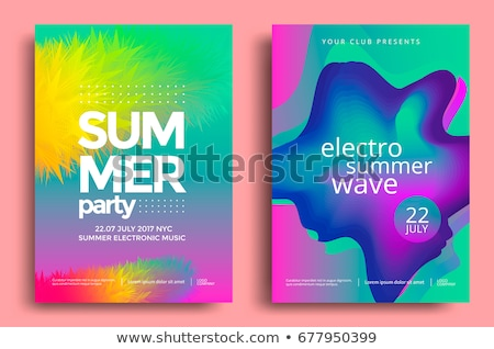 Stockfoto: Vector · zomer · poster · sjabloon · blauwe · hemel · hot