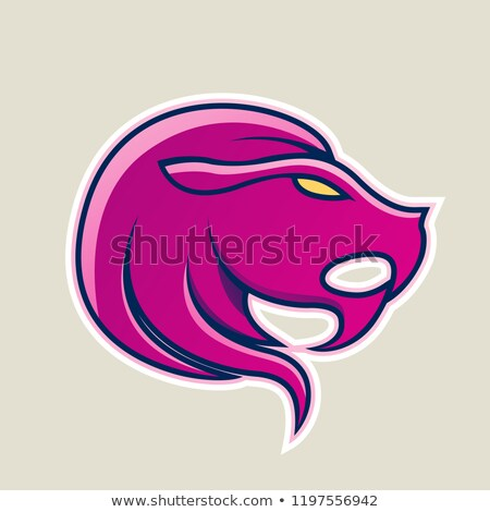 Magenta Lion or Leo Icon Vector Illustration Stock photo © cidepix