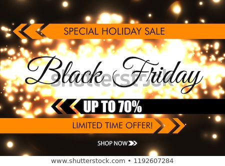 black friday sale banner black text with tag and glow sparks bokeh effect on pink background stock photo © iaroslava
