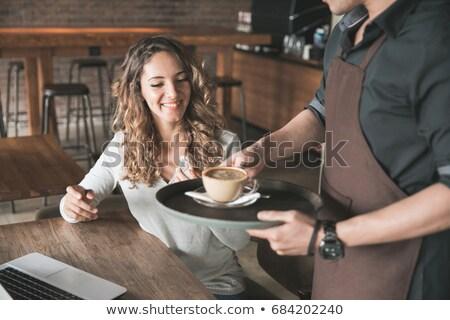 vrouw · permanente · counter · restaurant · klant - stockfoto © kzenon