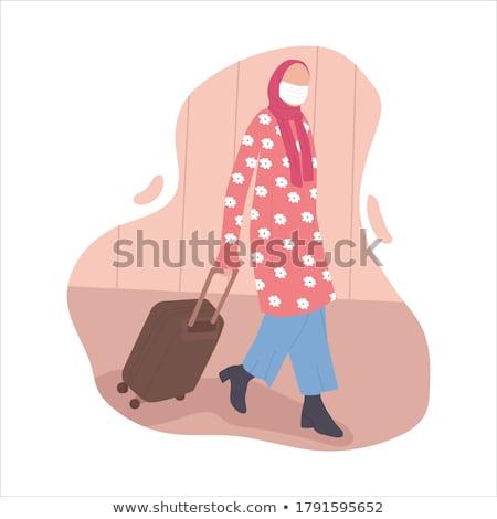 Müslüman kadın bagaj gülen Stok fotoğraf © robuart