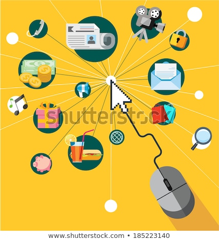 Pay per click concept. On line shopping. Mobile marketing and mobile shopping concept. Flat vector i Stock photo © makyzz