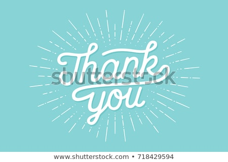 thank you hand lettering thank you with sunburst stock photo © foxysgraphic