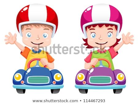 Cartoon souriant voiture de course pilote fille Photo stock © cthoman