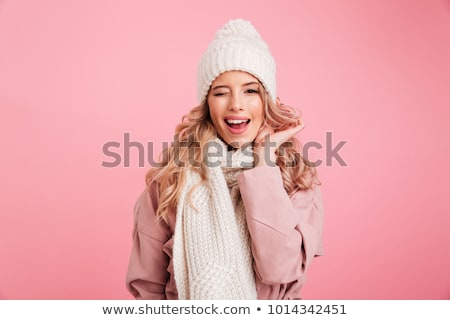Boldog aranyos nő visel sál kalap Stock fotó © deandrobot