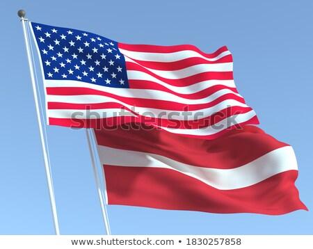 Iki bayraklar Amerika Birleşik Devletleri Letonya yalıtılmış Stok fotoğraf © MikhailMishchenko