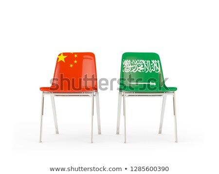 Two chairs with flags of China and saudi arabia isolated on whit Stock photo © MikhailMishchenko