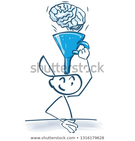 stick figure funnels with a funnel knowledge with a brain stock photo © ustofre9