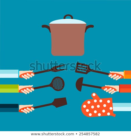 Family cooking - flat design style colorful illustration Stock photo © Decorwithme
