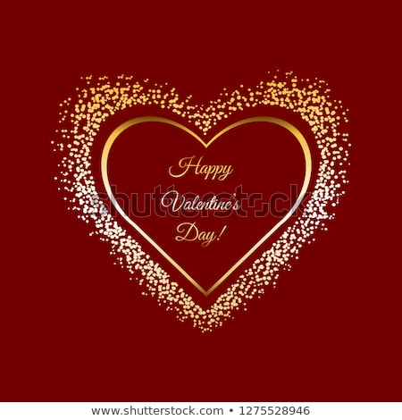Happy Valentines Day Golden glitter sparkle on red background. Vector illustration stock photo © olehsvetiukha