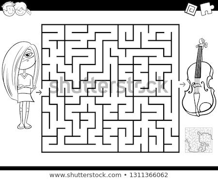 maze color book with girl and violin stock photo © izakowski