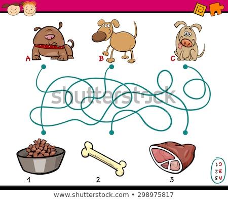 maze game with cartoon dogs and meat Stock photo © izakowski