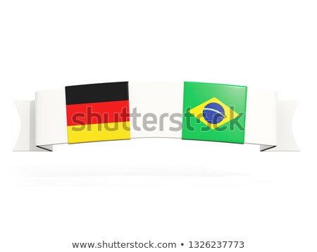 Banner with two square flags of Germany and brazil Stock photo © MikhailMishchenko