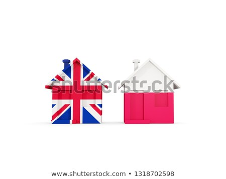 Foto stock: Dos · casas · banderas · Reino · Unido · Polonia · aislado