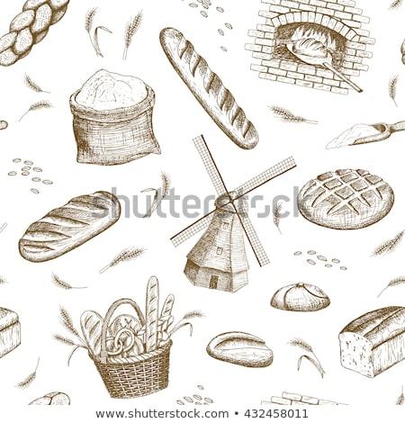 Establecer alimentos productos trigo harina patrón Foto stock © netkov1