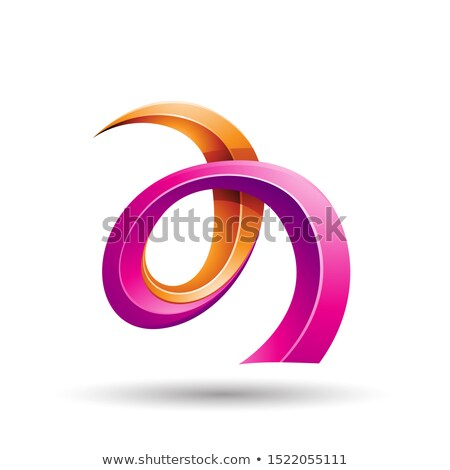 orange and magenta curled ivy like letter a icon stock photo © cidepix