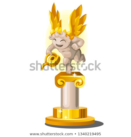 Funny statue made of gold and stone in the form of an angel with a watering can isolated on white ba stock photo © Lady-Luck
