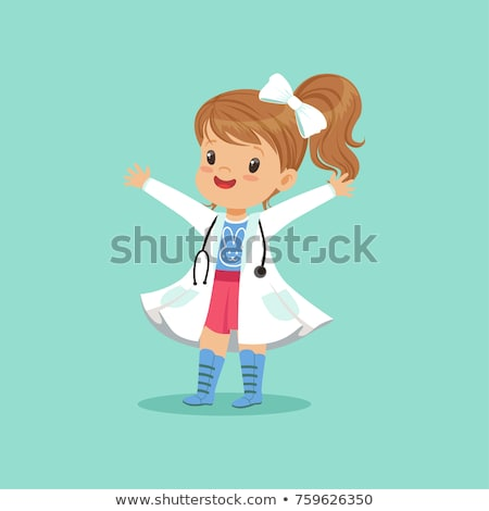 Little Girl In White Coat And Stethoscope Plays Doctor And Treats Her Toy Vector Flat Cartoon Illust Stock photo © pikepicture