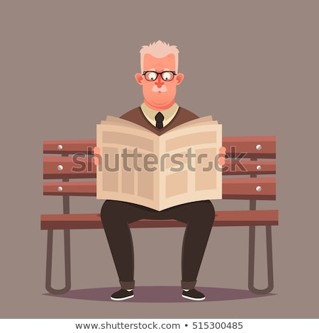 Old Man Reading Newspaper on Bench Isolated Vector Stock photo © robuart