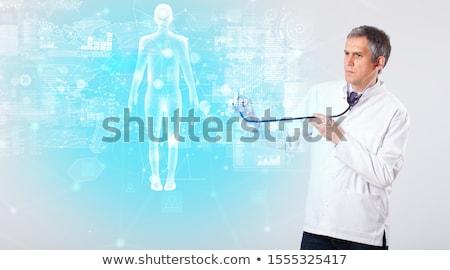 Profi orvos egészalakos térkép középkorú tudós Stock fotó © ra2studio