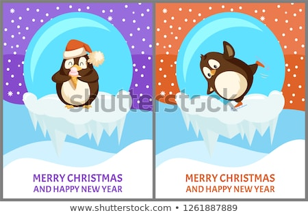Set of Papercard of Snow-Globe with Penguin Vector Stock photo © robuart