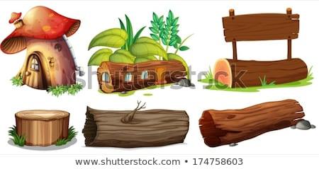 Gomba ház fa deszka illusztráció fa keret Stock fotó © colematt