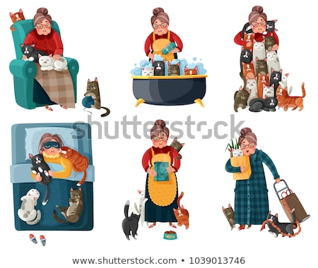 vector set of maid cat Foto stock © olllikeballoon