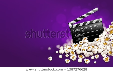 cinematograpy producer clapperboard in popcorn online movie banner stock photo © loopall