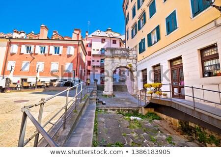 colorido · cuadrados · vista · de · la · calle · región · Italia · pared - foto stock © xbrchx