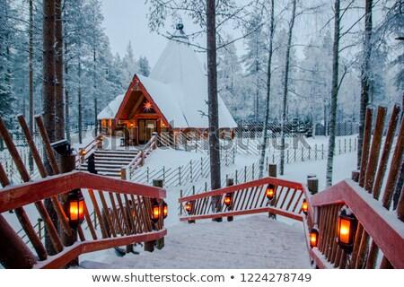 Stockfoto: Huis · bos · winter · nacht · bos · houten