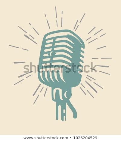 Müzisyenler şarkı söyleme mikrofon vektör yalıtılmış kadın Stok fotoğraf © robuart