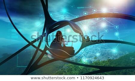 Scifi блоггер природы социальной Инфографика фантастический Сток-фото © ConceptCafe