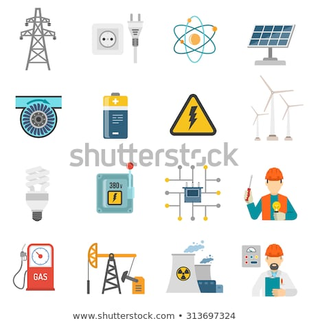 Energy generating systems flat icons set Stock photo © netkov1