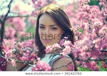 Nice девушки цветок Cute рук забор Сток-фото © alexaldo