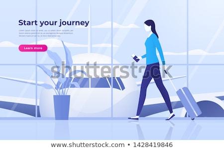 Chegada turistas aeroporto vetor homem mulher Foto stock © robuart