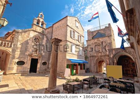 Town of Korcula square stone church and architecture evening vie Stock photo © xbrchx