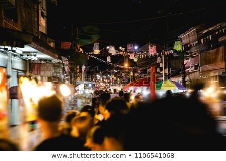 храма улице ночь рынке Гонконг Сток-фото © vichie81