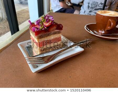 Сток-фото: Strawberry And Watermelon Layer Cake With Cappuccino
