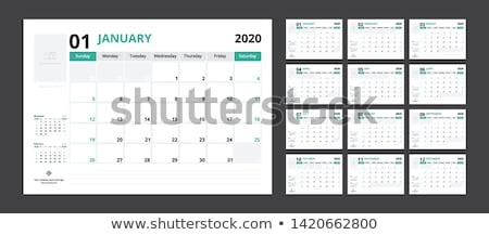 Year 2020 Calendar or planner grid . Black background. Vector illustration. Stock photo © kyryloff