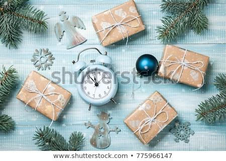 çalar saat hediye kutusu Noel tebrik kartı Stok fotoğraf © karandaev
