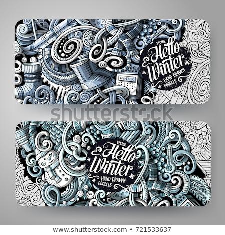 Invierno dibujado a mano garabato banner Cartoon detallado Foto stock © balabolka