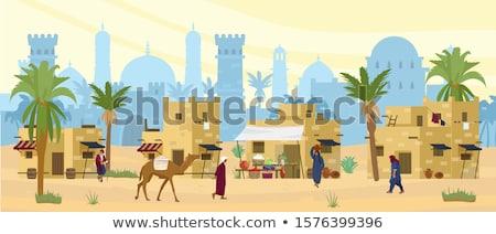 Deserto paisagem camelo silhueta ilustração noite Foto stock © barsrsind