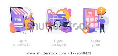Online bolt vektor metaforák internet bolt webes ikonok Stock fotó © RAStudio