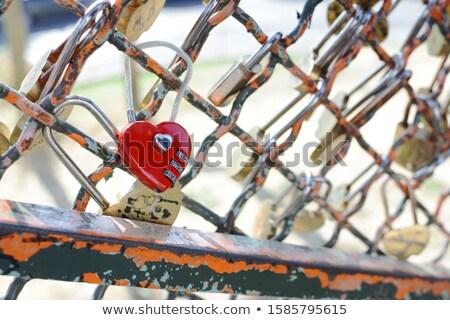 Czerwony połączenie kłódki metal ogrodzenia bazylika Zdjęcia stock © sarahdoow